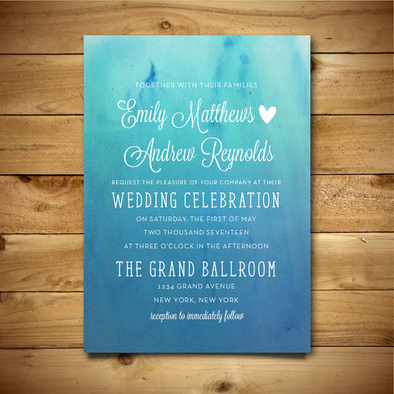 Printable watercolor wedding invitation template blue for Wedding invitation sample word document