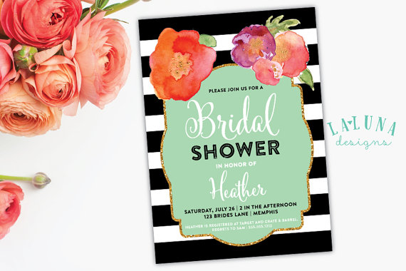 Wedding - Bridal Shower Invitation, Floral Black & White Stripe Bridal Shower Invite, Gold Glitter Bridal Shower, DIY Printable