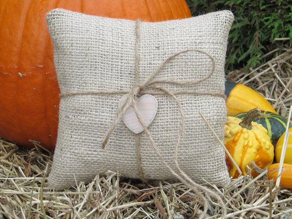 Mariage - Burlap Ring Bearer Pillow Personalized For Your Wedding Day
