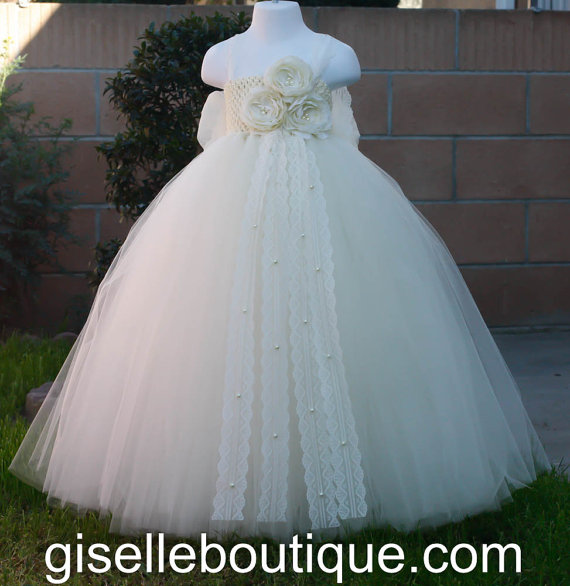 Hochzeit - Flower girl dress. All Ivory tutu dress.  Price does not include bow
