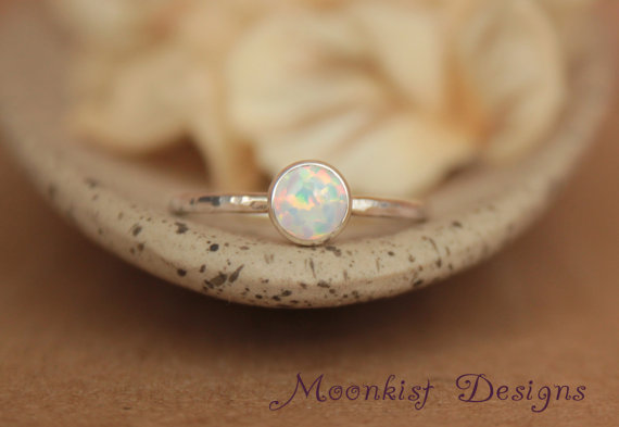Hochzeit - Delicate Opal Engagement Ring - Opal Bezel-Set Solitaire in Sterling - Opal Promise Ring - Unique Engagement Ring - October Birthstone