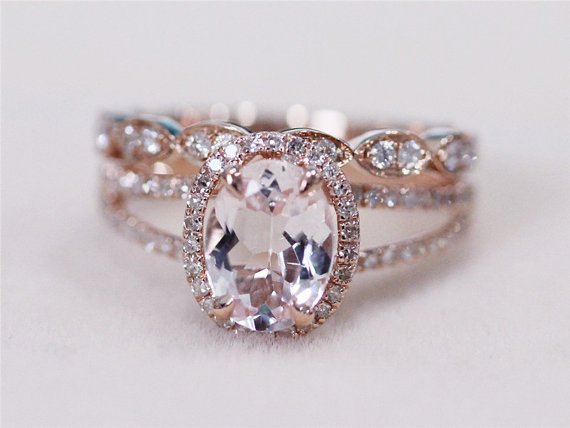2 rings set vs 6x8mm pink morganite ring with diamond matching band wedding ring set 14k rose gold morganite ring diamond engagement ring - Morganite Wedding Ring Set