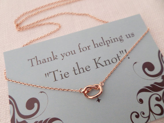Hochzeit - Rose gold Love Knot necklace...Tie the knot necklace...dainty, everyday, simple, birthday,  wedding, bridesmaid jewelry