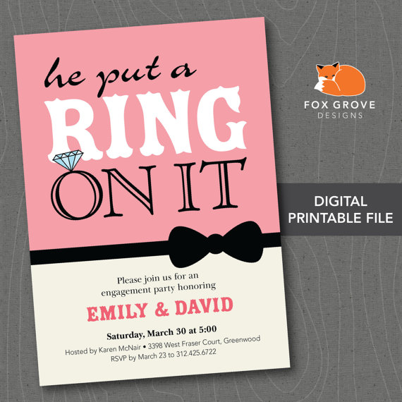 printable he put a ring on it engagement party invitation or
