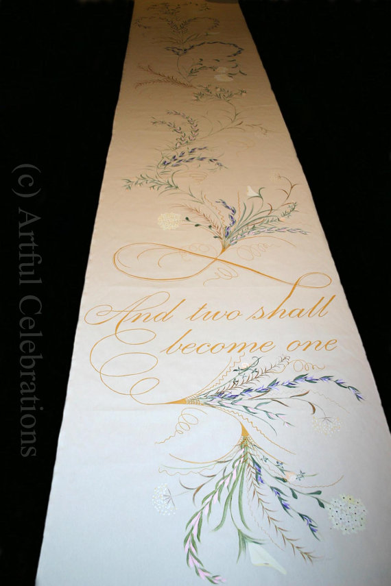 Hochzeit - Wedding Aisle Runner Hand Painted Personalized Custom Design - DEPOSIT for any length and design