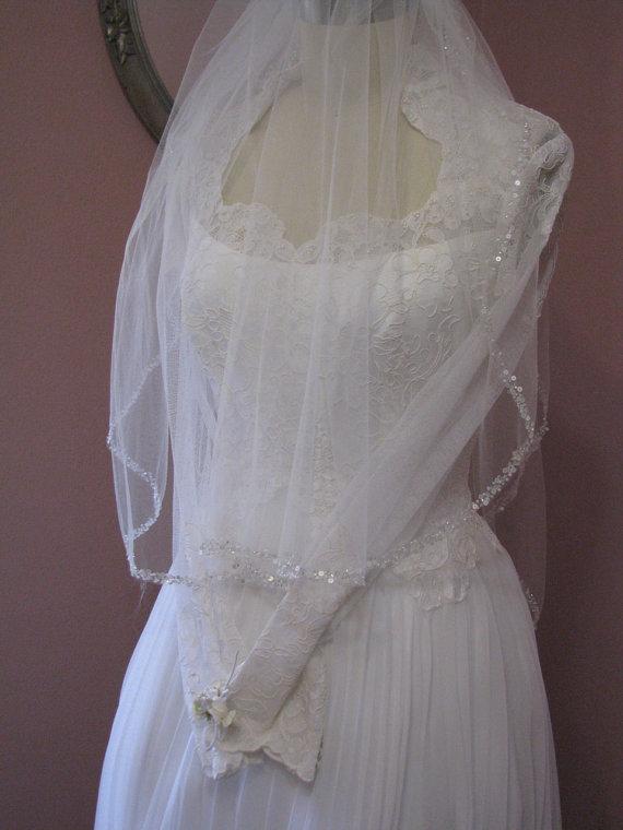 Свадьба - Sparkle Pearl Sequin Beaded Two Tier Layer Waist Length Wedding Veil