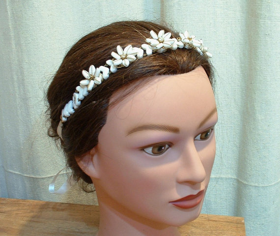 Vintage milk glass rhinestone gold headband white flower bridal vintage milk glass rhinestone gold headband white flower bridal head piece floral head dress woodland wedding garden eco friendly boho mightylinksfo
