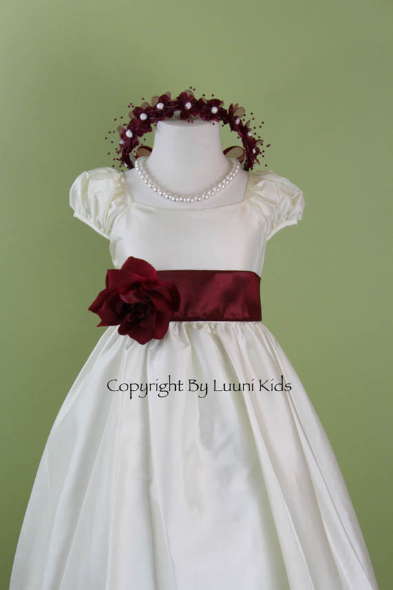 5df961f552 Flower Girl Dress - IVORY Cap Sleeve Dress with BURGUNDY Sash - Easter