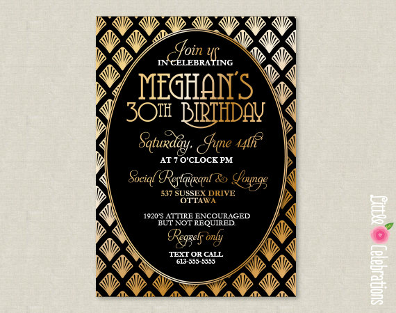 PRINTABLE Roaring 20s Art Deco Black And Gold Party Invitation – Art Deco Party Invitations