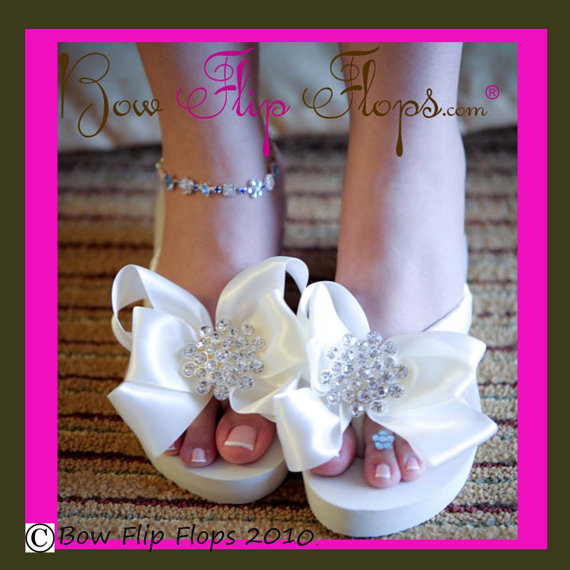 28d36f8a5 Ivory White Bridal Flip Flops Jewel Flat Wedge Rhinestone Satin Rhinestone  Bow Wedding Bride platform heel Wedding Ribbon bridesmaids