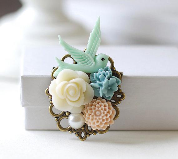 Свадьба - Bird Brooch. Flowers and Blue Bird Collage Brooch. Blue Resin Bird, Pale Pink Dusk Blue Cream Ivory Flower Brooch, Bridal Sash Brooch