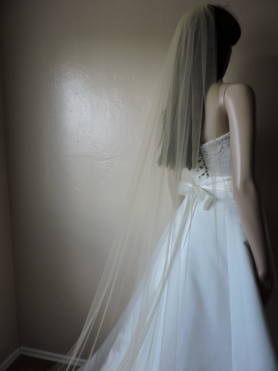 Hochzeit - Floor Length Sheer Wedding Veil with Cut Edge ST7050CE