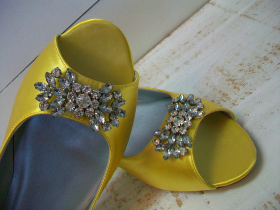 wedding shoes peep toe flats 1 2 inch heel yellow dyeable