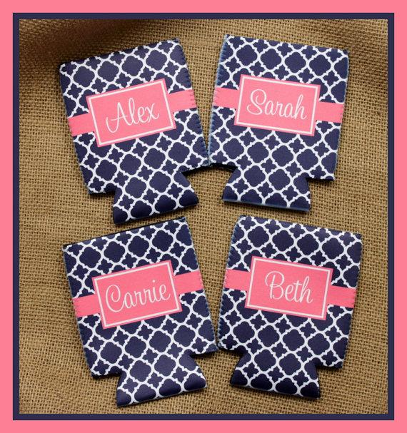Mariage - Can Koozie, Can Coozie Bridal Party Bridesmaids Groomsmen Gifts Personalized Can Koozie Personalized Can Koozies Coozies Custom Can Wrap