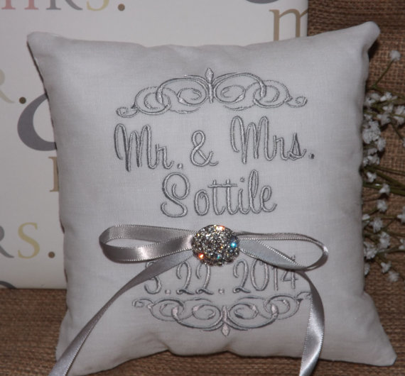 embroidered wedding ring pillow