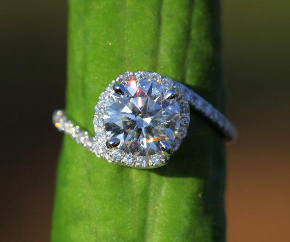 زفاف - 14k White gold - Diamond Engagement Ring - Halo - UNIQUE -  Thin Swirl - Pave - Weddings- Luxury- Brides - Bp0013
