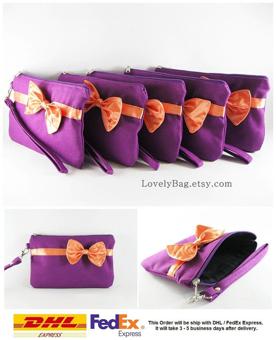 Свадьба - SUPER SALE - Set of 7 Eggplant Purple with Little Orange Bow Clutches - Bridal Clutches, Bridesmaid Wristlet, Wedding Clutch - Made To Order