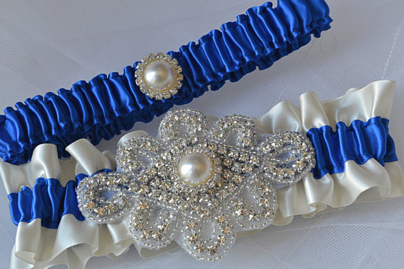 زفاف - Wedding Garter Set - Royal Blue Garters And Ivory Satin With Rhinestone Embellishments, Garter Belts, Bridal Garter Set