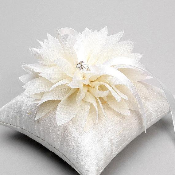 wedding ring pillow bridal ring pillow flower ring pillow ring bearer pillow lydia - Wedding Ring Pillow