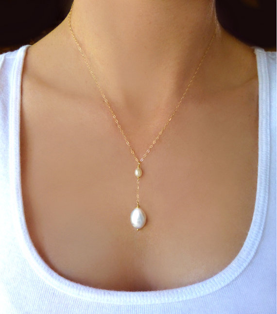 Wedding Beaded Freshwater Pearl Necklace Dainty Pearl Teardrop