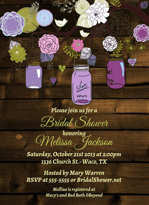 Vintage Mason Jar Invitations  Bridal Shower Invitation  Mason  Jars Rustic Wood Wedding Shower  Rehearsal Dinner