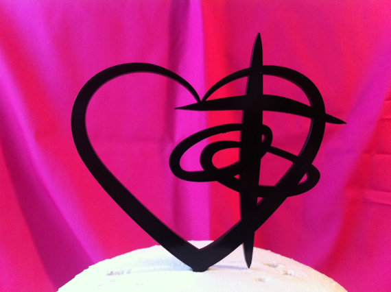 زفاف - Personalized Custom Cross Heart Rings Contemporarty Wedding Cake Topper