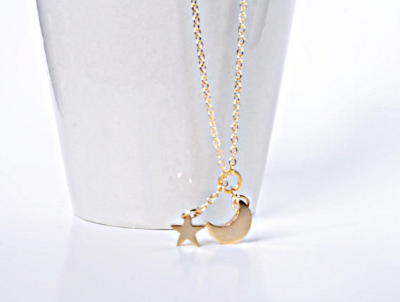 Mariage - Star And Moon Necklace, .925 STERLING SILVER Chain Or 14K Gold Filled Chain, Crescent Necklace,  Wedding