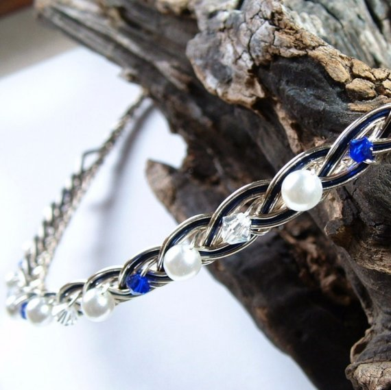 Свадьба - Saltire Blue Scottish Headband Pearl and Crystal Celtic Wedding Tiara