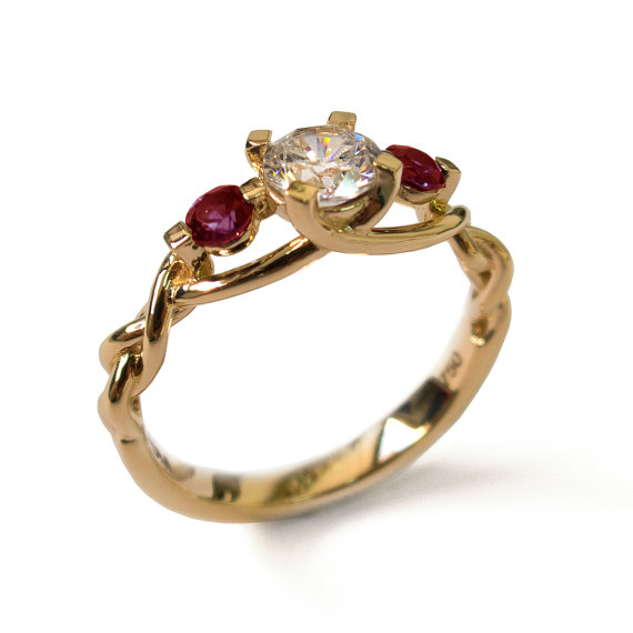 Mariage - Braided Engagement Ring - Diamond and Rubies engagement ring,yellow gold diamond ring, engagement ring, celtic ring, three stone ring