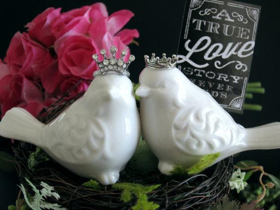 زفاف - Love Birds Cake Topper Cake Topper Wedding Cake Topper Crown Bird Cake Topper Royal Cake Topper