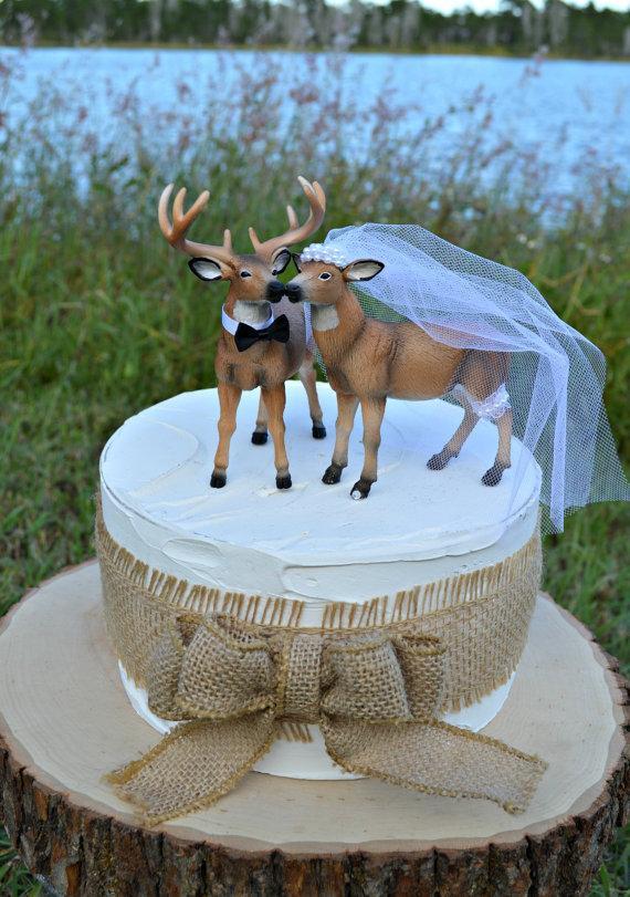 زفاف - Doe and Buck cake topper-Deer wedding cake topper-Hunting wedding cake topper-Deer bride and groom-Hunting-Buck-Wedding Cake Topper