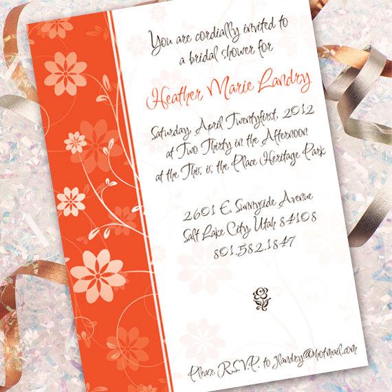 Hochzeit - tangerine bridal shower invitation, floral party invitation, girl party, wedding invitation, IN148
