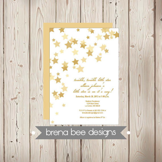 Wedding - Instant Download - Twinkle Twinkle Little Star - Gold Stars - Shower, Birthday, Engagement Party Invitation, Custom Printable