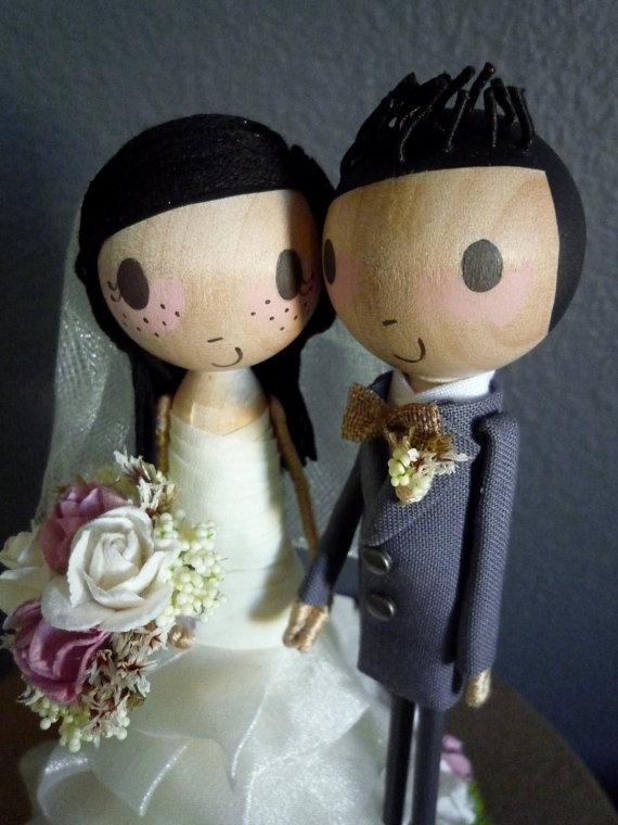 زفاف - Wedding Cake Topper with Custom Wedding Dress (NEW EYE OPTION) - Custom Keepsake by MilkTea