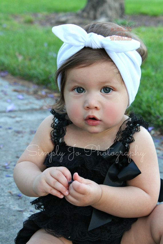 NEW- White Knot Tie Cotton Headband For Baby Girl And Toddler Girl ... b6d28d5853d