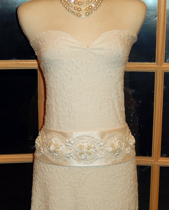 Mariage - The Marashatra Bridal Couture Silk Hip/Sash Belt-Swarovski Crystals Pearls-White or Ivory- CRBoggs Original
