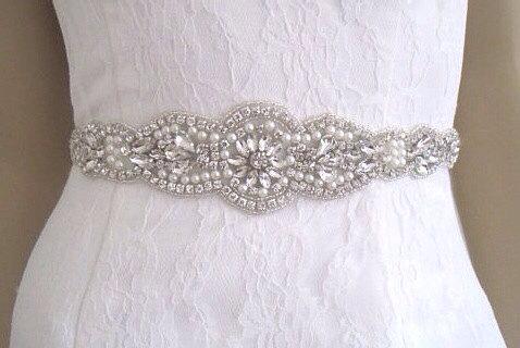 Hochzeit - Pearl bridal sash  belt pearl wedding dress belt pippa