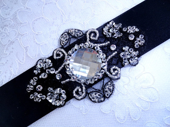 Mariage - Black Sash - Bridesmaid Sash - Sash Wedding - Bridal Crystal Sash Belt