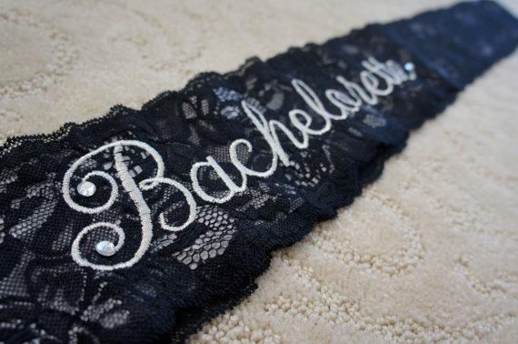 Mariage - Black Lace Bridal Sash - Black and Silver Bachelorette Sash - Customizable Bacelorette Sash