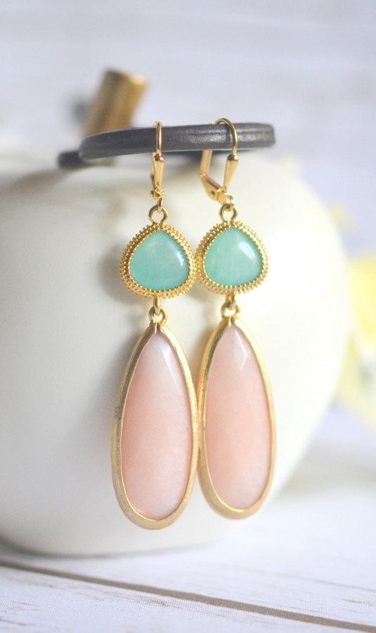 Свадьба - Mint and Peach Statement Earrings in Gold. Long Dangle Earrings. Aqua Dangle Earrings. Bridal Jewelry. Wedding. Gift.