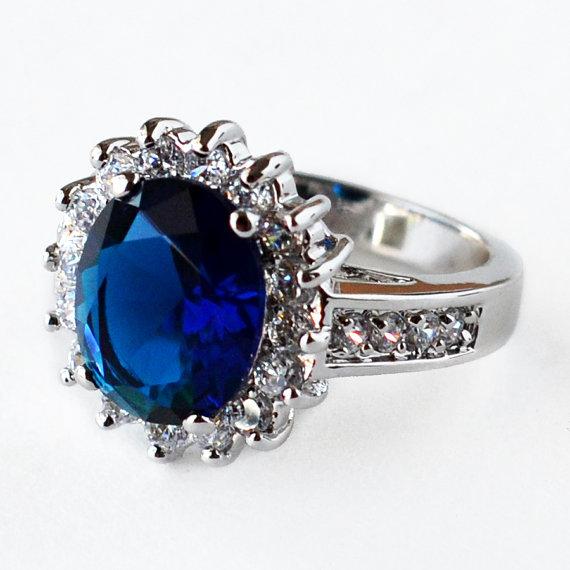 Свадьба - Blue Sapphire Ring, CZ ring, wedding ring, engagement ring, solitaire ring, anniversary ring, size 5 6 7 8 9 10 - MC1KM1AZ