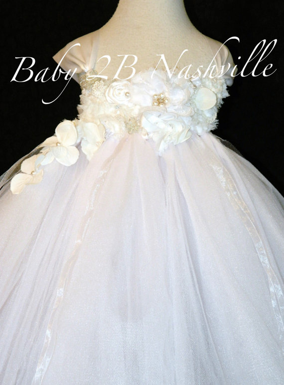 Свадьба - Deluxe Floral White Wedding Flower Girl Dress All Sizes Girls