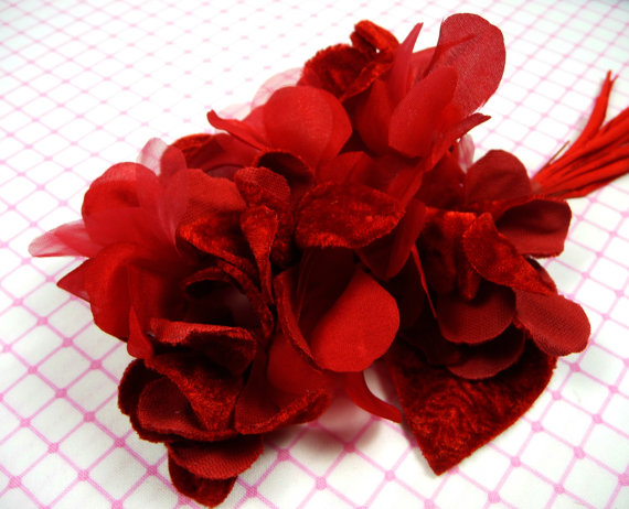 Millinery flower spray velvet silk red romance bouquet on stems for millinery flower spray velvet silk red romance bouquet on stems for weddings hats wreath corsage mightylinksfo
