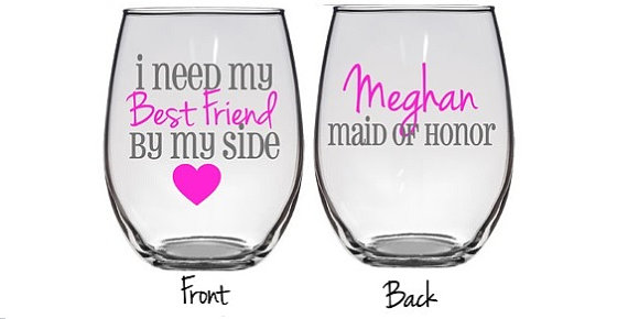 92dd5b99a85 Will You Be My Maid Of Honor, Bridesmaid Proposal, Will You Be My  Bridesmaid Wine Glass, Bridal Party Wine Glass, Personalized Bridal Party