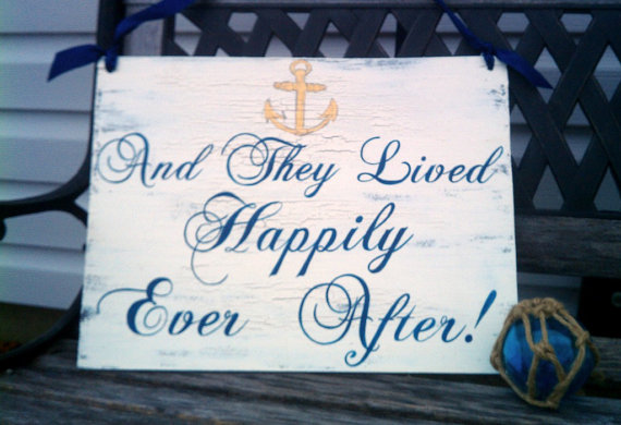 Свадьба - Nautical Wedding Sign REVERSIBLE with Anchor NAVY BLUE Wedding Here Comes The Bride & And They Lived Happiy Ever After