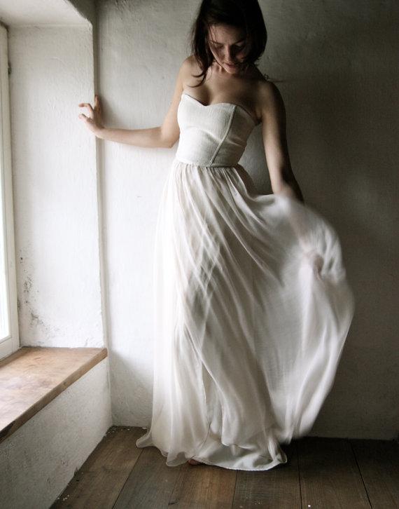 Wedding - Wedding dress, Bridal Gown, Evening dress, Chiffon dress, Corset dress, boho wedding dress, Alternative wedding, Beach wedding, Silk dress