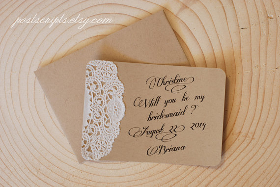 Hochzeit - Will You Be My Maid of Honor - Custom Note Card- Bridesmaid, Flower Girl, Ring Bearer, Best Man, Groomsman - Rustic Lace Doily Wedding