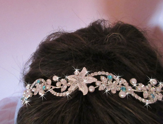 Boda - Custom Made Rhinestone Beach Wedding Tiara, Wedding Headband, Bridal Tiara Crown, Starfish Headband, Something Blue Rhinestone Tiara