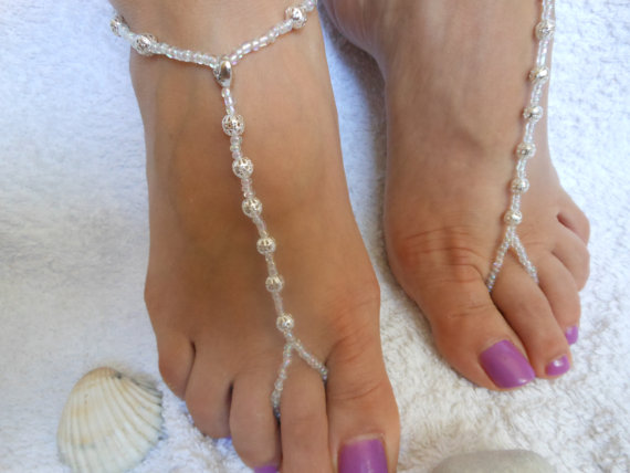 Mariage - Barefoot Sandals Beach Wedding   Yoga Shoes Foot Jewelry  Beads