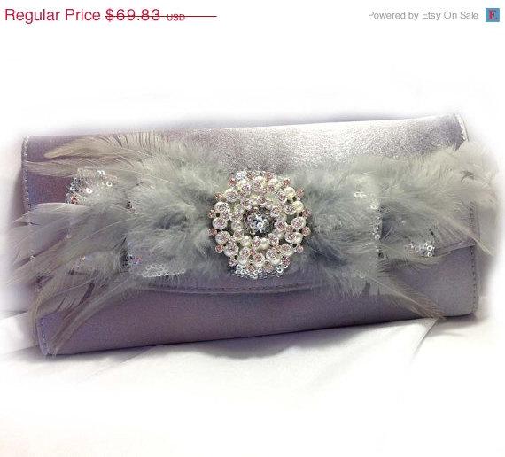 Hochzeit - wedding clutch, Bridal clutch, feather evening bag, Silver clutch,Vintage inspired pearl clutch, Bridal evening bag